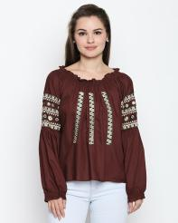 Recap Maroon Embroidered Top