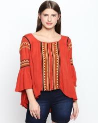 Recap Orange Printed Top