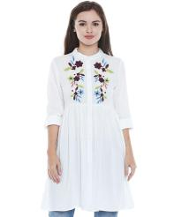 Recap White Embroidered Tunic