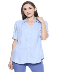Recap Blue Solid Casual Shirt