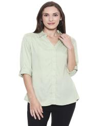 Recap Light Green Solid Casual Shirt