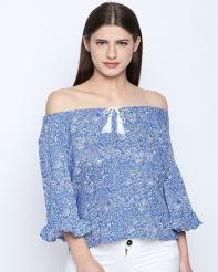 Recap Blue Printed Top