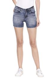 Destressed Denim Shorts